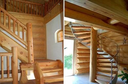 как украсить стену в бревенчатом доме над лестницей