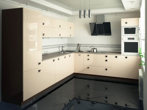 Кухня бежевый глянец фото