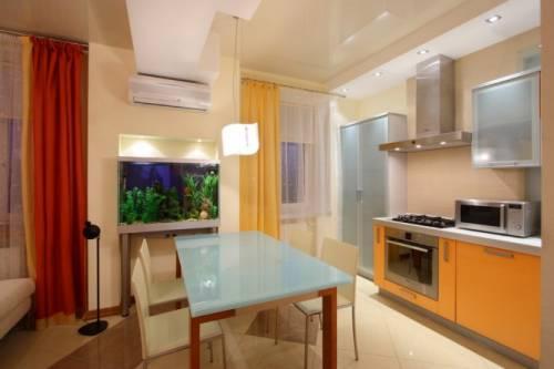 Натяжные потолки кухня гостиная фото