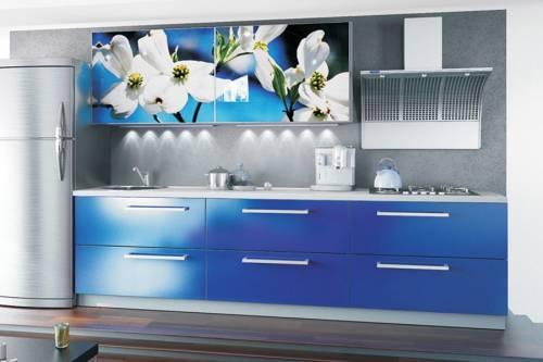 Интерьер синей кухни фото